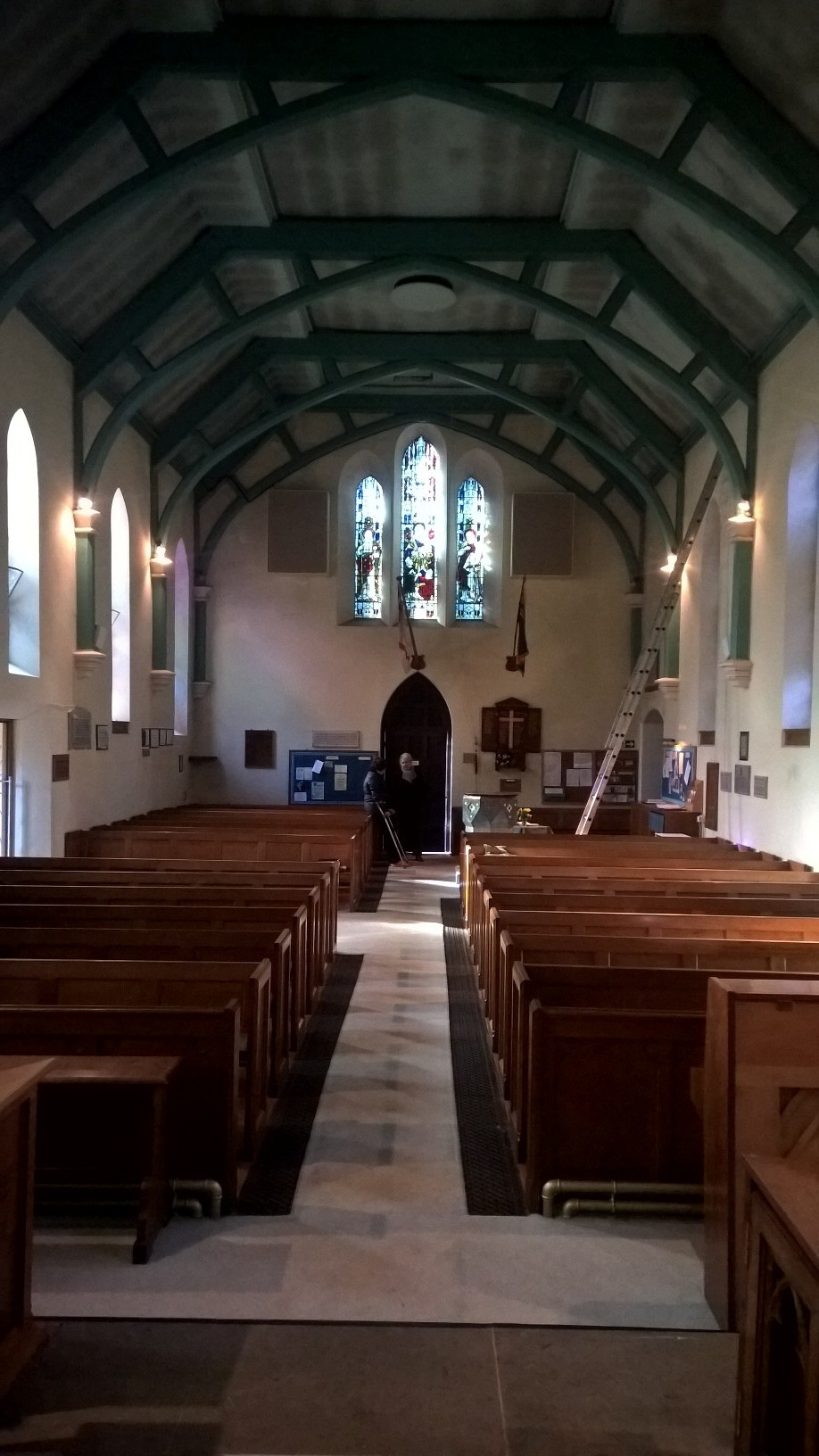 The interior of St John the Baptist church, showing the refurbishment of the interior taking place